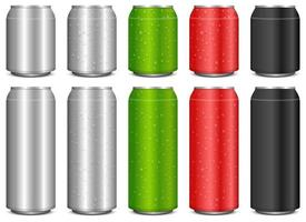 Realistic metal soda can vector design illustration set isolated on white background