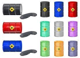 Conjunto de ilustración de diseño de vector de barril de petróleo aislado sobre fondo blanco