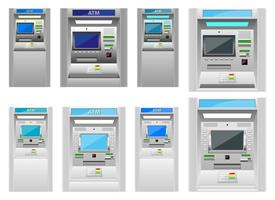Atm machine vector design illustration set isolated on white background