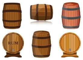 Conjunto de diseño de vector de barril de vino aislado sobre fondo blanco