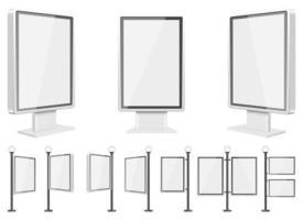 Light box template vector design illustration set isolated on white background