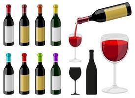 Botella de vino conjunto de ilustraciones de diseño vectorial aislado sobre fondo blanco. vector