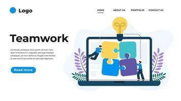 Modern flat design illustration of Teamwork. vector