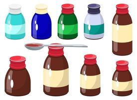 Medicine syrup bottle vector design illustration set isolated on white background