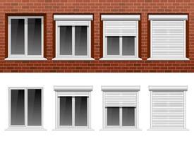 Window on brick wall vector design illustration