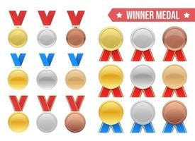 Winner medal vector design illustration set isolated on white background