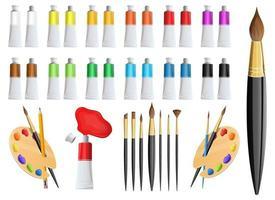 Artist paint and brush vector design illustration set isolated on white background