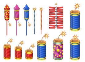 Firecrackers vector design illustration set isolated on white background