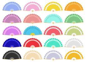 Japanese folding fans vector design illustration set isolated on white background