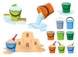cubo con agua y arena clipart vector diseño ilustración conjunto