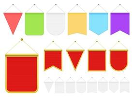 Realistic pennant vector design illustration set isolated on white background