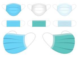 Conjunto de ilustración de diseño de vector de máscara médica aislado sobre fondo blanco