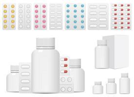 Conjunto de píldoras médicas conjunto de ilustraciones de diseño vectorial aislado sobre fondo blanco. vector