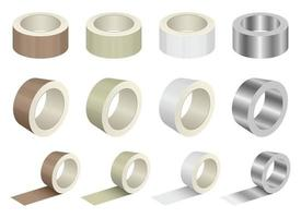 Duct tape roll vector design illustration set isolated on white background