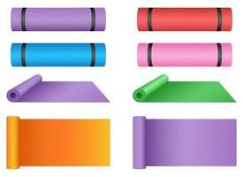 Yoga mat vector design illustration set isolated on white background