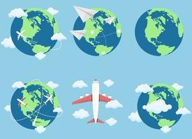 Plane flying around the world vector design illustration set isolated on blue background