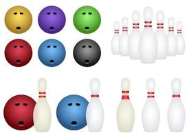 Bowling set vector design illustration set isolated on white background