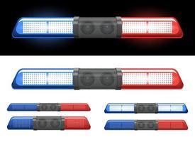 Conjunto de ilustración de diseño de vector de baliza de policía aislado sobre fondo