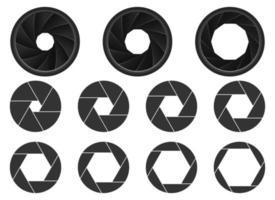 Camera aperture vector design illustration set isolated on white background