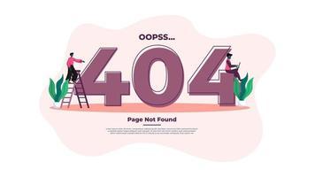 Modern flat design illustration of 404 Error Page.