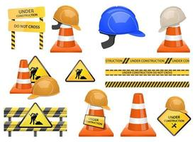 Under construction zone vector design illustration set isolated on white background
