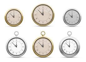 Conjunto de ilustración de diseño de vector de reloj de bolsillo aislado sobre fondo blanco