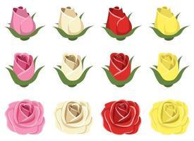 Vintage roses vector design illustration set isolated on white background