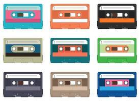 Conjunto de ilustración de diseño de vector de casete de audio aislado sobre fondo blanco