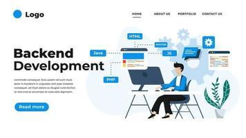Ilustración de diseño plano moderno de desarrollo backend. vector