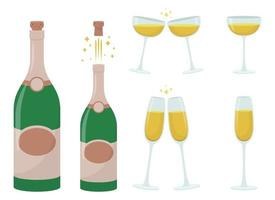 Champagne bottle and glass vector design illustration set isolated on white background