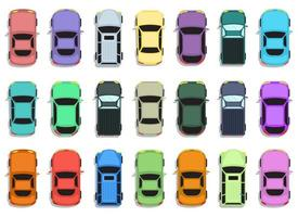 Car top view vector design illustration set isolated on white background