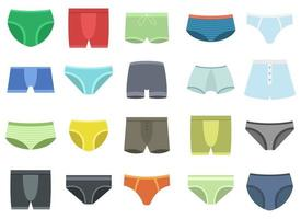 Men underpants vector design illustration set isolated on white background