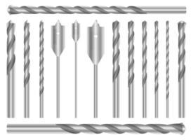 Conjunto de taladro metálico conjunto de ilustración de diseño vectorial aislado sobre fondo blanco. vector