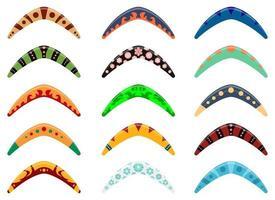 Conjunto de ilustración de diseño de vector de boomerang de madera aislado sobre fondo blanco