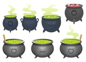 Witch cauldron vector design illustration set isolated on white background
