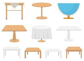 Wooden table vector design illustration set isolated on white background