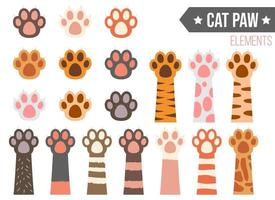 Cat paw vector design illustration set isolated on white background