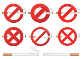 No smoking sign vector design illustration set isolated on white background