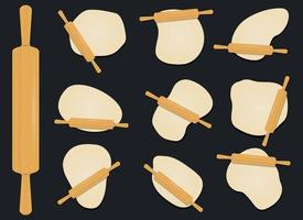 Wooden rolling pin on the dough vector design illustration isolated on background