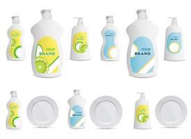 Dishwashing liquid bottle vector design illustration set isolated on white background