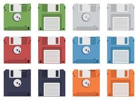 Ilustración de diseño de vector de disquete aislado sobre fondo blanco