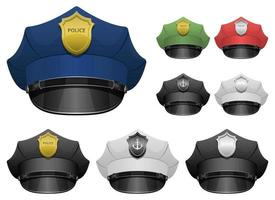 Police officer hat vector design illustration set isolated on white background