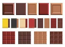 Conjunto de ilustración de diseño de vector de barra de chocolate aislado sobre fondo blanco