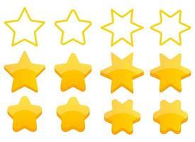 Golden stars vector design illustration set isolated on white background. Rating stars