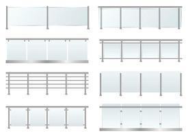 Glass railing set vector design illustration isolated on white background