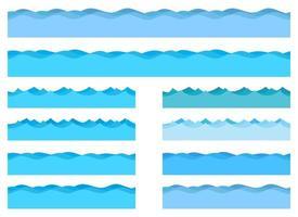 Ilustración de diseño de vector de olas de mar aislado sobre fondo blanco
