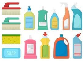 House cleaning supplies vector design illustration set isolated on white background