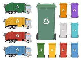 Ilustración de diseño de vector de camión de basura aislado sobre fondo blanco
