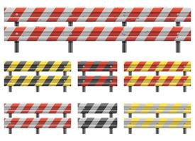 Metallic road barrier fence vector design illustration set isolated on white background