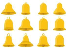 Conjunto de ilustración de diseño de vector de campana de oro aislado sobre fondo blanco